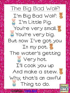 Big Bad Wolf Poem!...two students can read back and forth...this would be a cute…