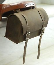 Leather Vintage look Bicycle brown Round Saddle Bag Utility Tool bag Box kit