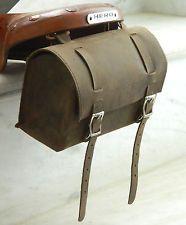 Leather Vintage look Bicycle brown Round Saddle Bag Utility Tool bag Box kit