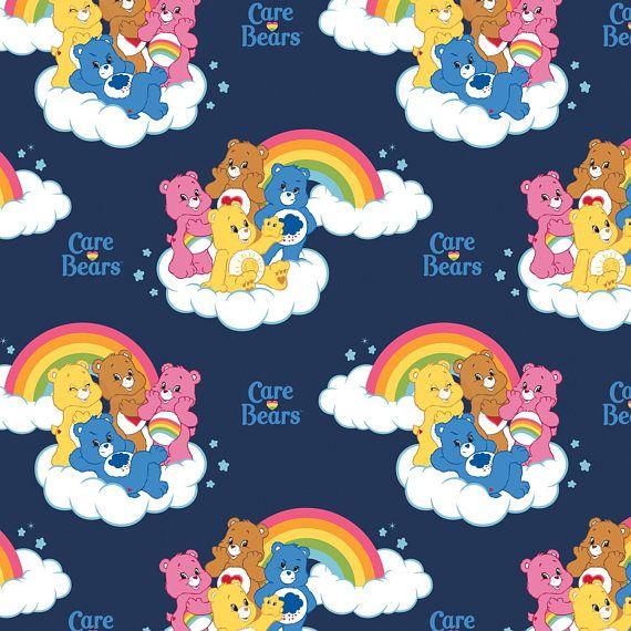 Care Bears Rainbow Bears WHITE 100/% Cotton Fabric FAT QUARTER