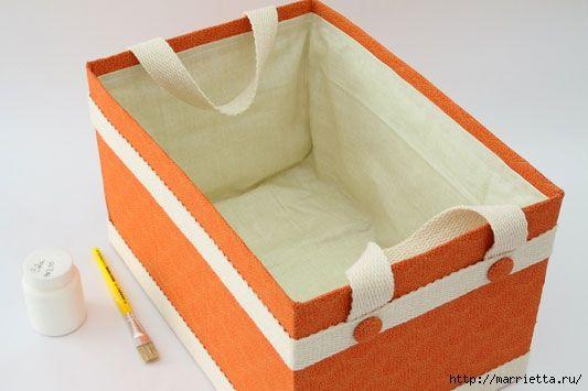 Caja de cart n forrada con tela cestas y artesan a - Manualidades con cajas de zapatos ...