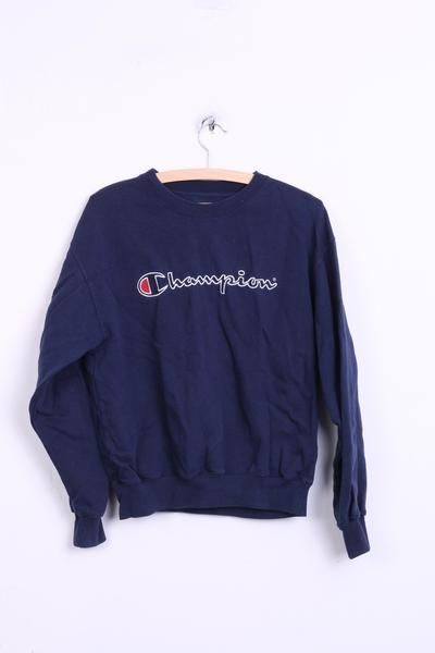 Champion Womens S Sweatshirt Navy Cotton Jumper Sport - RetrospectClothes