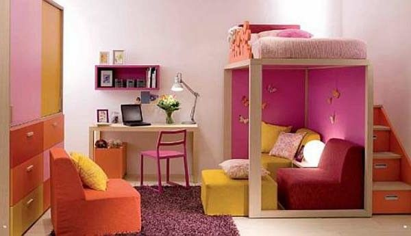 Nursery idea stained orange yellow pink Chair carpet desk