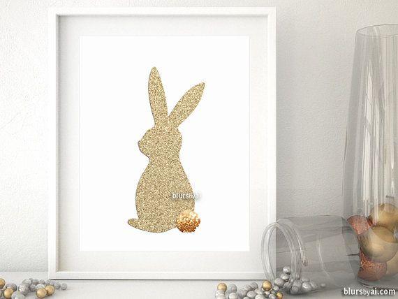 Gold bunny silhouette wall art gold glitter bunny by blursbyaiShop