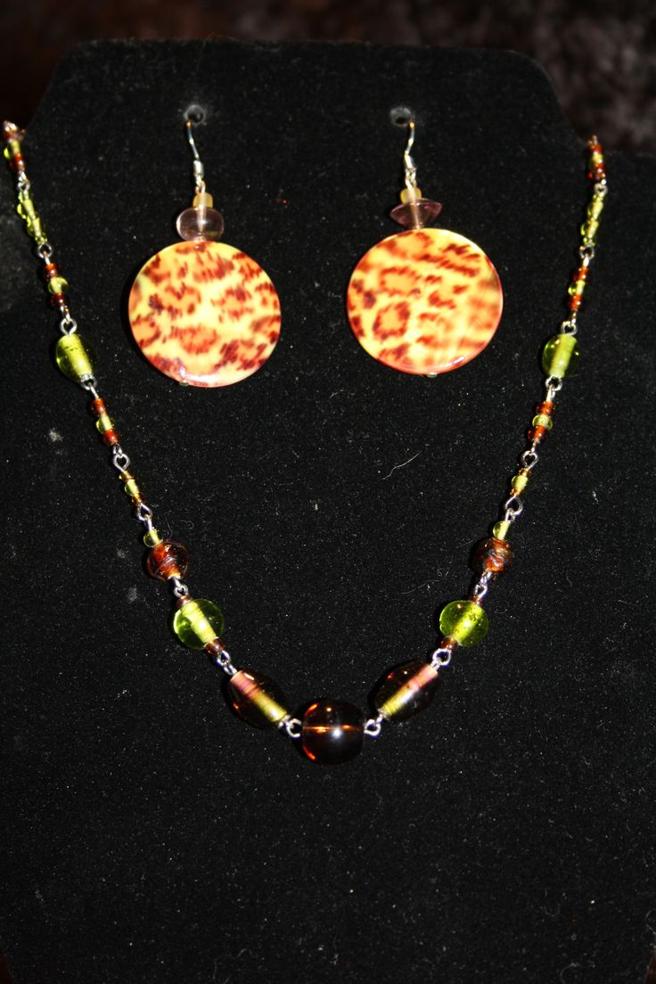 16' Glass bead chain link Choker with matching leopard earrings. $20