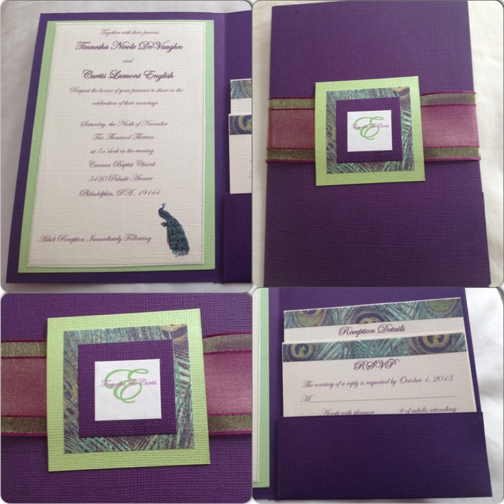 wedding invitations peacock theme%0A DIY pocket fold invitations  peacocks  wedding
