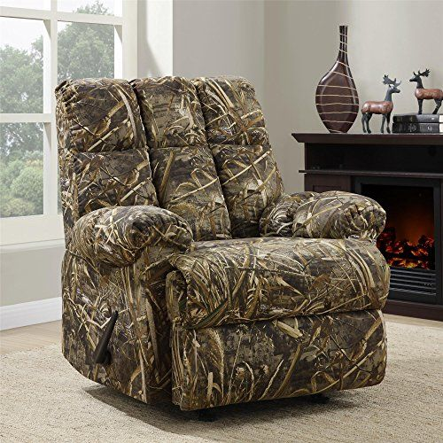 Bring your love for the outdoors indoors with the #Real tree Camouflaged Rocker Recliner. Upholstered with authentic Real tree fabric, this recliner is a great a...