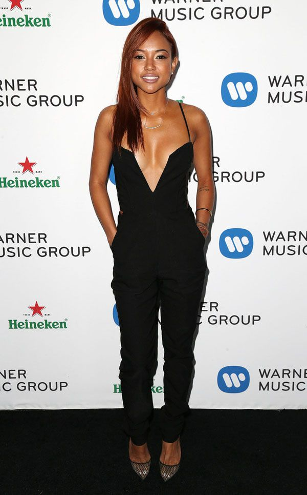 Steal: Karrueche Tran's Warner Music Group Grammy After Party Nasty Gal Black Plunging Midnight Run Jumpsuit - The Fashion Bomb Blog /// All...