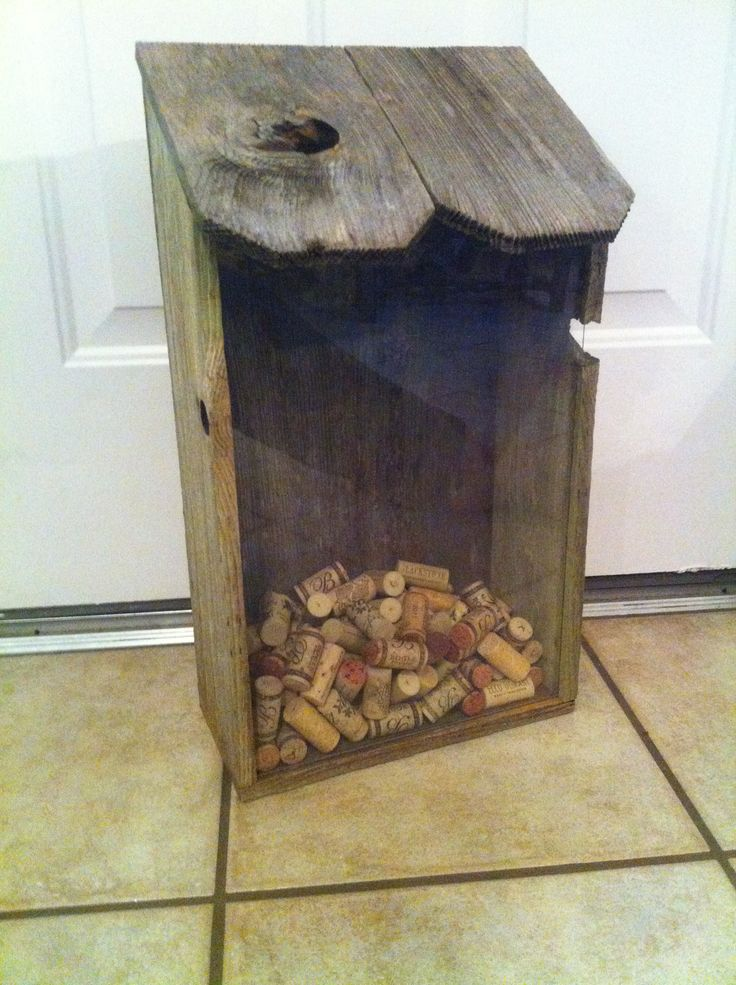 Bird house style cork holder made out of weathered fence for How to build a birdhouse out of wine corks