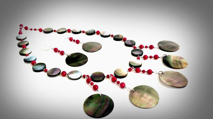 LONG NECKLACE. Necklace Earring Set. Mother of Pearl and Red coral beads. Perfect Gift Ideas. by GECHELINE on Etsy