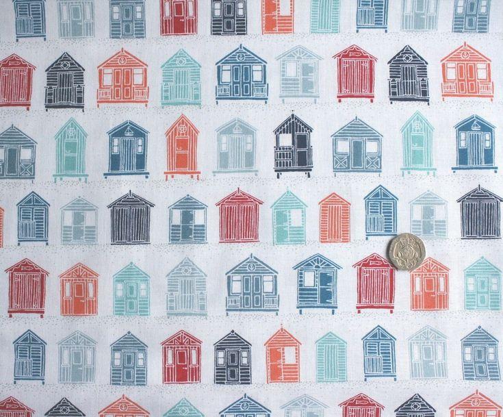 Seaside Marina Beach Huts fabric fq 50 x 56 cm Makower MK1770 100% Cotton | eBay