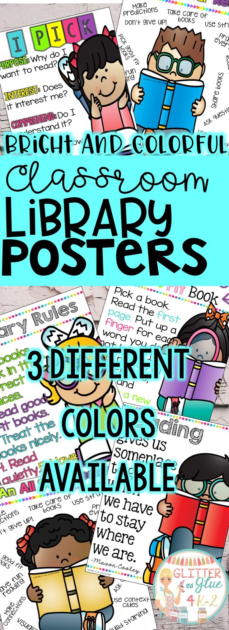 Poster design keywords - Classroom Library Posters Three Different Color Combinations