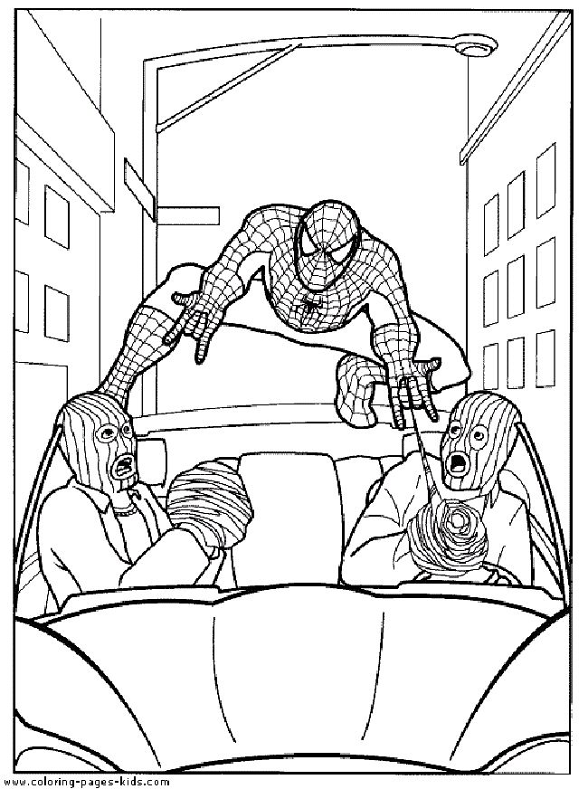 Team spiderman coloring page