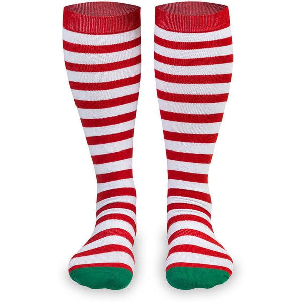 Knee-High Christmas Socks - Red/White Stripe | Gone For a Run ($12) ❤ liked on Polyvore featuring intimates, hosiery, socks, knee high hosiery, wicking socks, stripe socks, white socks and christmas knee high socks