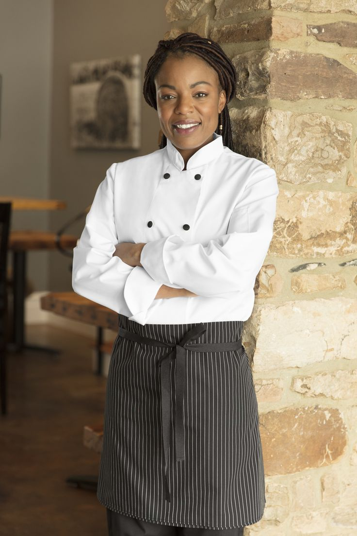 Women's Cloth Button Chef Coat -  Lead the line with this enhanced women's chef coat.