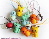 Pokemon Charms Pikachu Bulbasaur Charmander Squirtle Pokeball Polymer Clay Cute Kawaii Chibi Anime Nintendo Videogame Geek Gamer –  – #DiyGamer