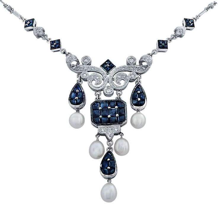 Sapphire Diamond Pearl White Gold Necklace 20th century