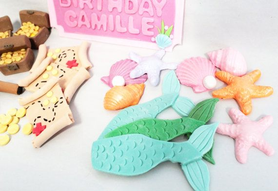 RUSH Fondant Edible Toppers 12 qty mermaid tails only cupcake toppers for Under the Sea Party, Mermaid, Little Mermaid, Beach on Etsy, $26.00