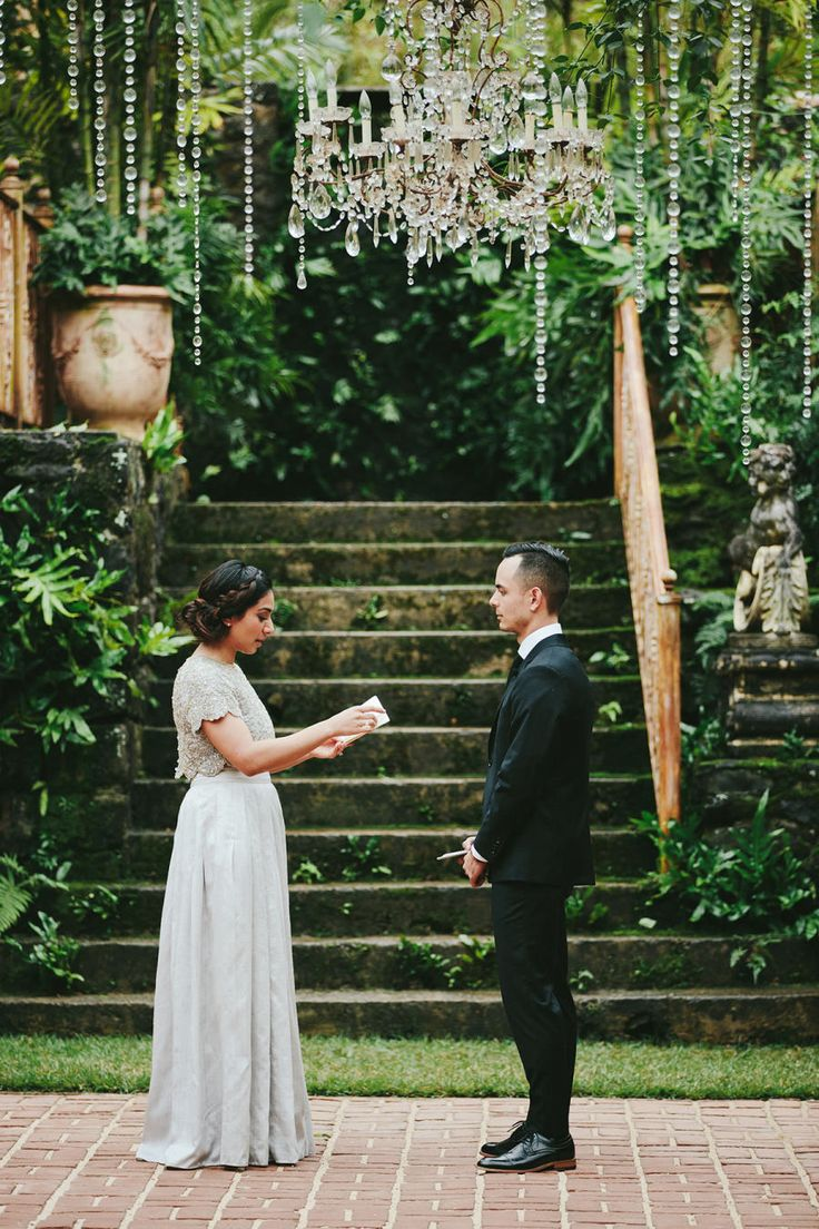 Photography : Melia Lucida, Photographer Read More on SMP: http://www.stylemepretty.com/destination-weddings/2017/02/08/haiku-mill-elopement-a-silver-dress-designed-by-the-bride/