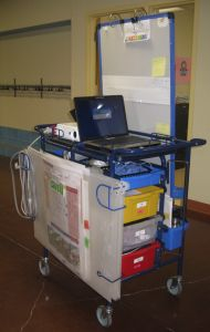 My Cadillac of Carts - a Copernicus Teach 'n' Go Premium cart with a (wifi enabled) laptop, projector and speakers on the back
