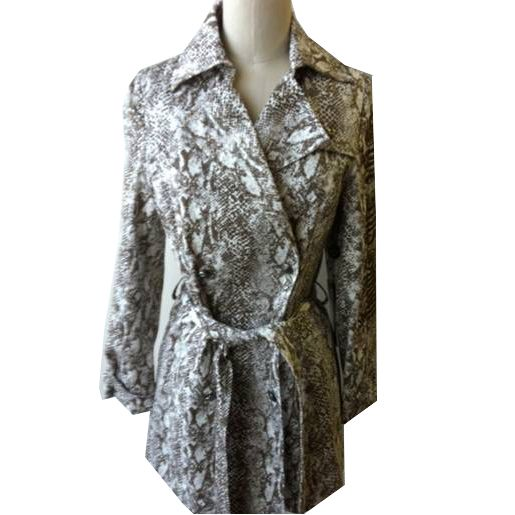Ed Hardy Womens Snake Print LKS Trench Jacket -Brown/White