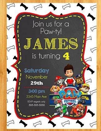 1000 images about paw patrol on pinterest paw patrol birthday paw patrol party and paw for Paw patrol invitation ideas