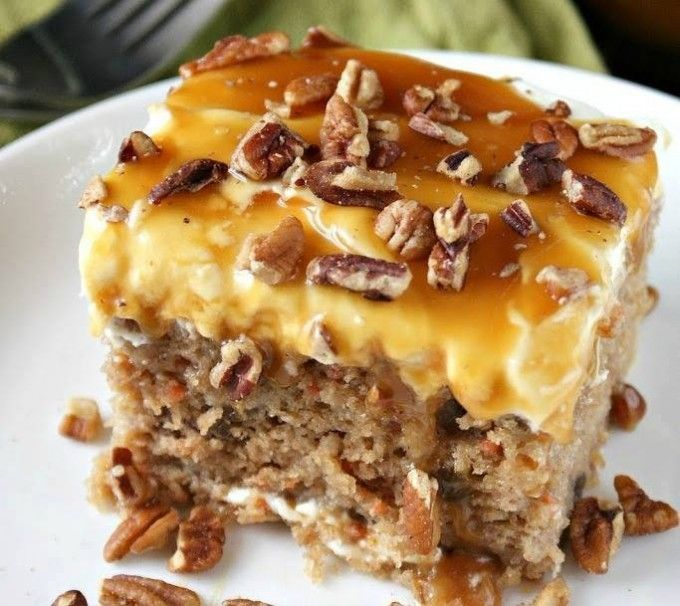 Sea Salt Caramel & Carrot Poke Cake...these are the BEST Fall Dessert…
