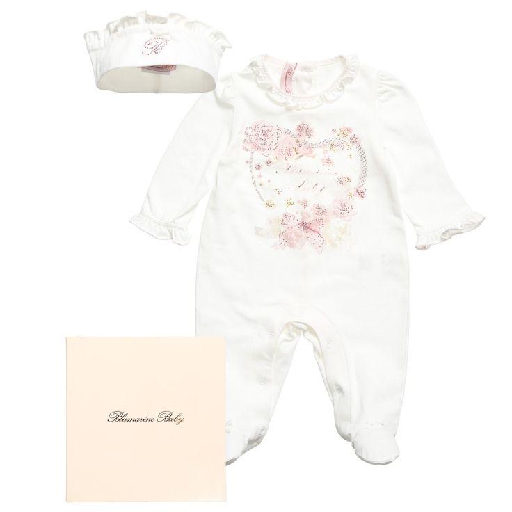 Girls White Heart Babygrow & Headband Gift Set, Miss Blumarine, Girl