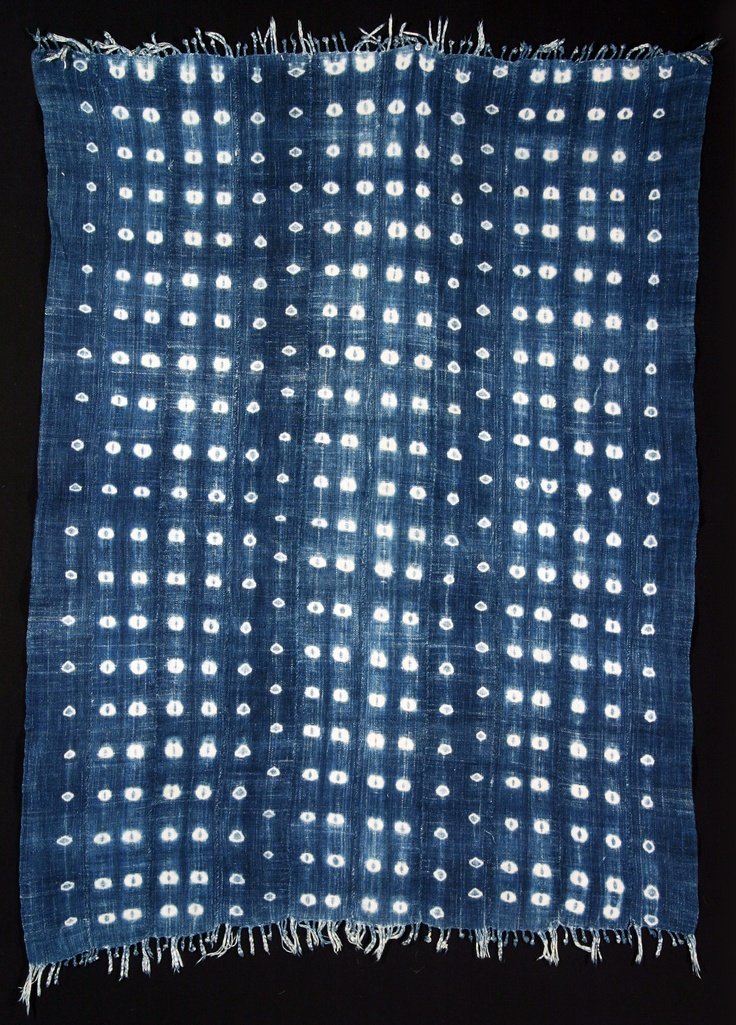 Africa | Woman's wrap (skirt) from the Baule people of Ghana or the Ivory Coast | 20th century | Indigo resist dyed cotton, plain weave.