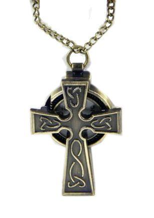 Bronskleurige Keltisch Kruis horloge ketting - 4.5 cm lang