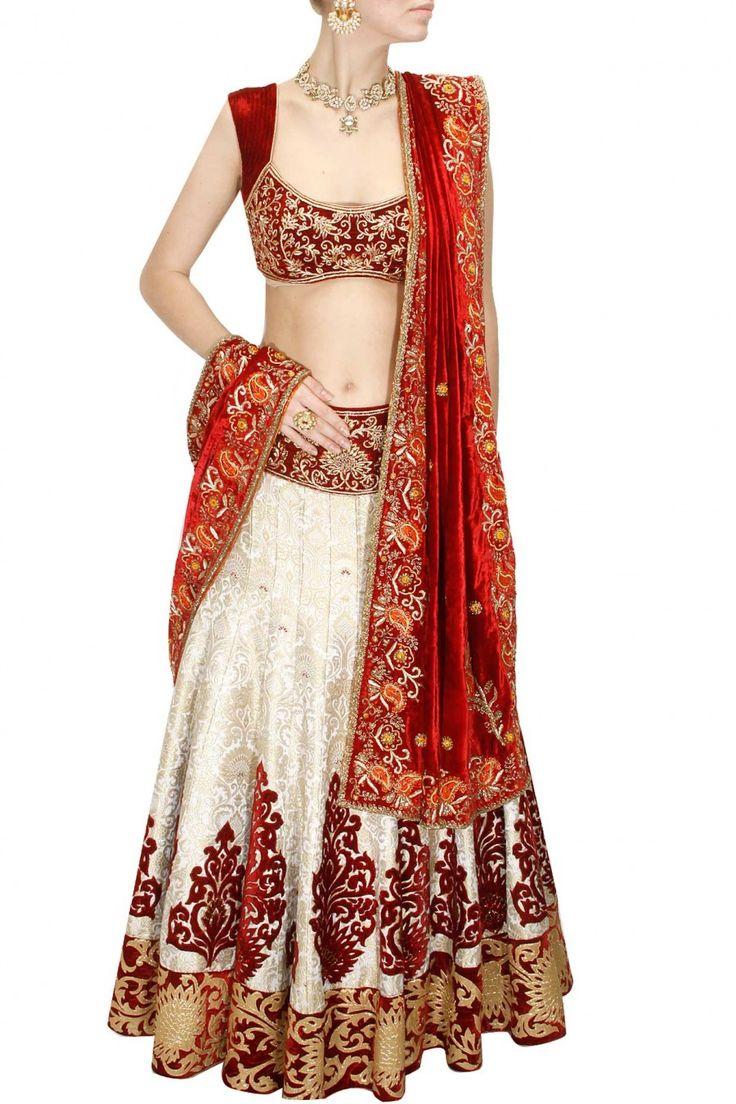 Red and off white zardosi embroidered lehenga set by Diva'ni. Shop at www.perniaspopupshop.com. #traditional #designer #festive #divani #shopnow #perniaspopupshop #happyshopping