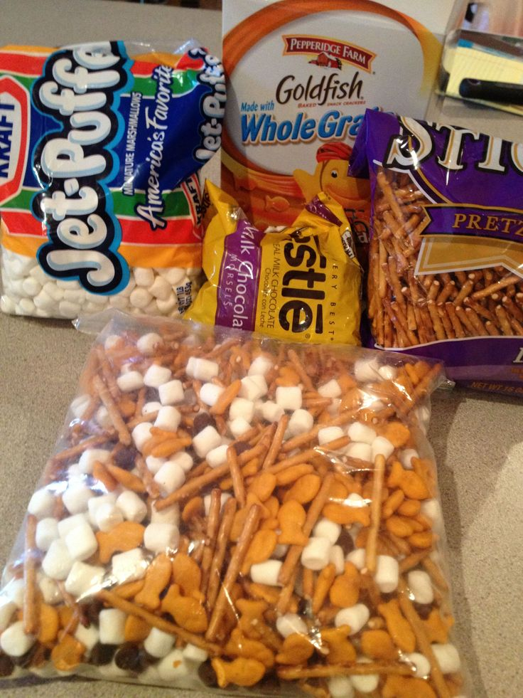 Backpack snack for school. Equal parts Goldfish Crackers, pretzels, marshmallows any chocolate chips. My kids love this. Perfect snack for peanut free classrooms.