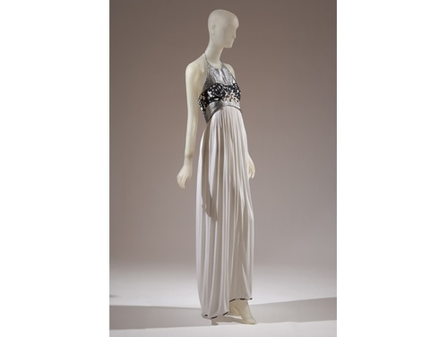 A Geoffrey Beene rayon-and-silk gown with metallic trim, spring 1990,