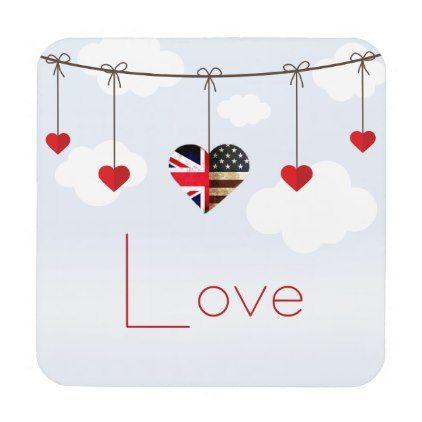 #British American Love Hearts royal wedding Coaster - #wedding gifts #marriage love couples