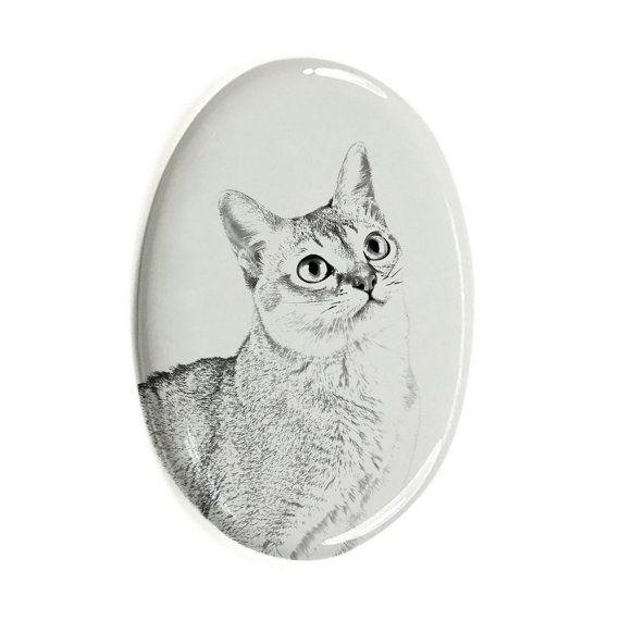 Singapura- Plaqueta cerámica ovalada para la lápida sepulcral con el gato