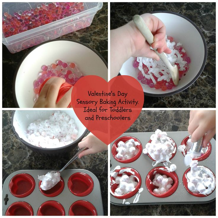Pretend Baking: Valentine's Day Cupcakes made with shaving foam, glitter and waterbeads. Great messy play activity for toddlers and preschoolers.