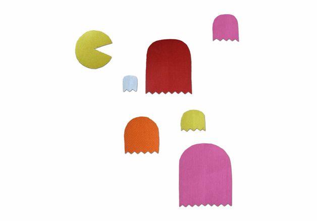 Set dekorativer PACMAN-Flicken zum Aufbügeln