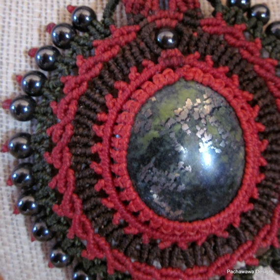 Earth Star Necklace with Serpentine Stone by pachawawa on Etsy, $95.00