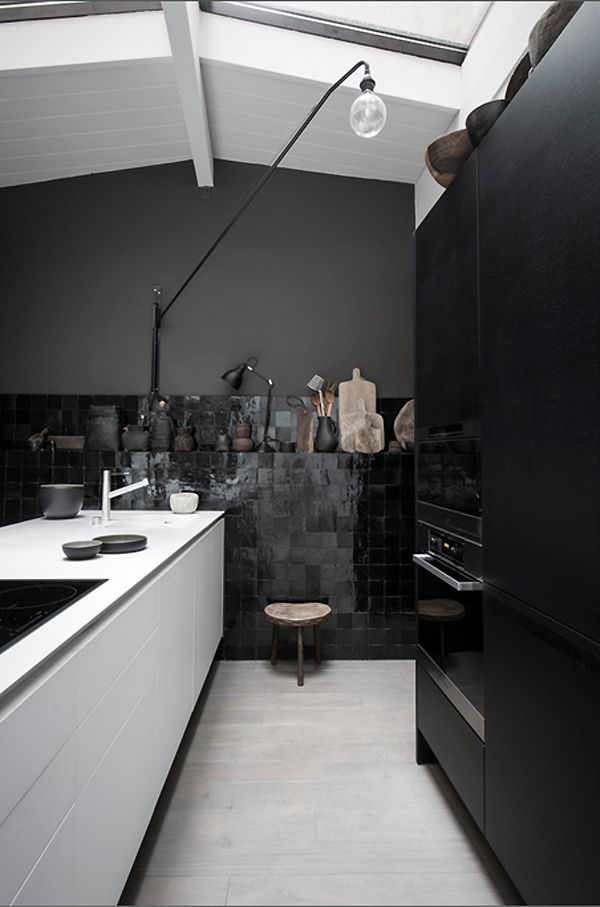 And the zelliges... | Black & White kitchen | via THE STYLE FILES | Image by Romain Ricard