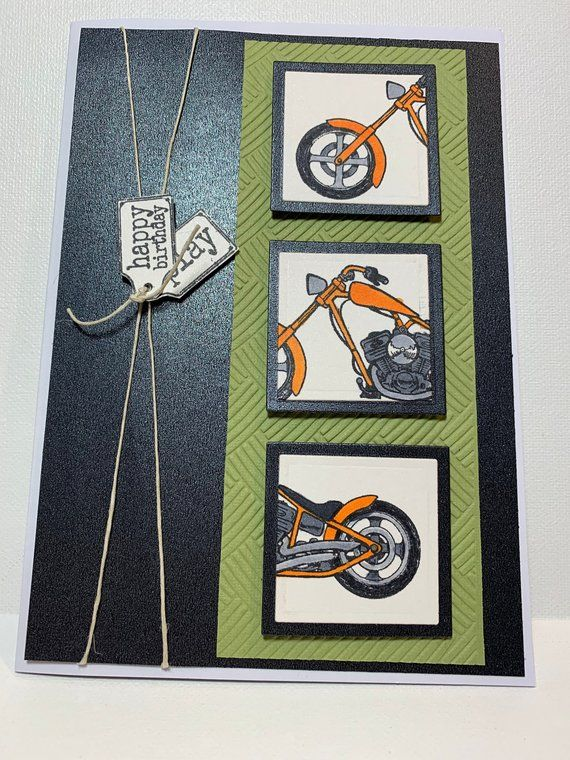 Motorcycle Lovers Card Motorcycle Birthday Card Mens Card 3d
