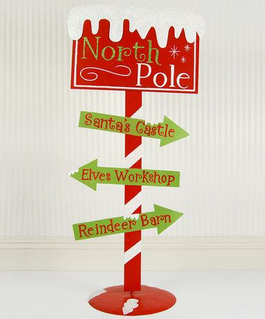 Metal North Pole Sign by Adams & Co. on #zulily #festive #christmas #holiday #decoration #drseuss #seuss #grinch #stole #red #green #lime #who #whoville #metal #sign #ornament #decoration #decor #home #stand #northpole #north #pole #santa #castle #elves #workshop #reindeer #barn #stable #santa's #house