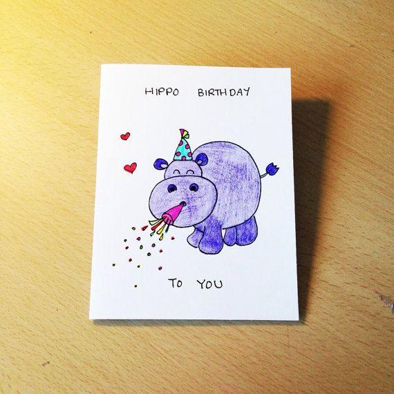 Funny birthday card hippo birthday cute card, kids birthday card, purple hippo art, cartoon card by LoveNCreativity on Etsy
