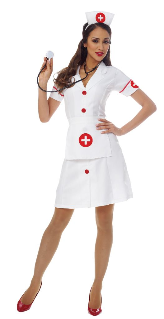 Assist the doctor of the house in our Classic Nurse Adult Costume for a winning duo. Anyone is sure to appreciate the hospital hottie! Our women's Classic Nurse Costume includes a white dress with red buttons, turned cuffs accented with red trim and cross emblems, white apron with red cross emblem and a matching nurse cap headpiece. The white button-front dress of the Classic Nurse Costume is done in a classy vintage style coming just above the knee with a modest v-neck. Nurse a loved one…