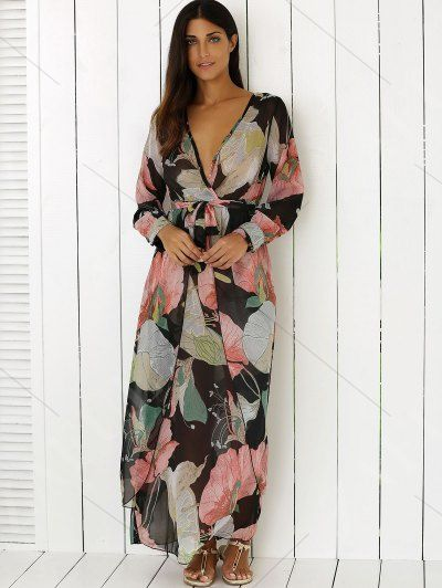 Full Floral Printed Plunging Neck Maxi Dress - COLORMIX XL Mobile