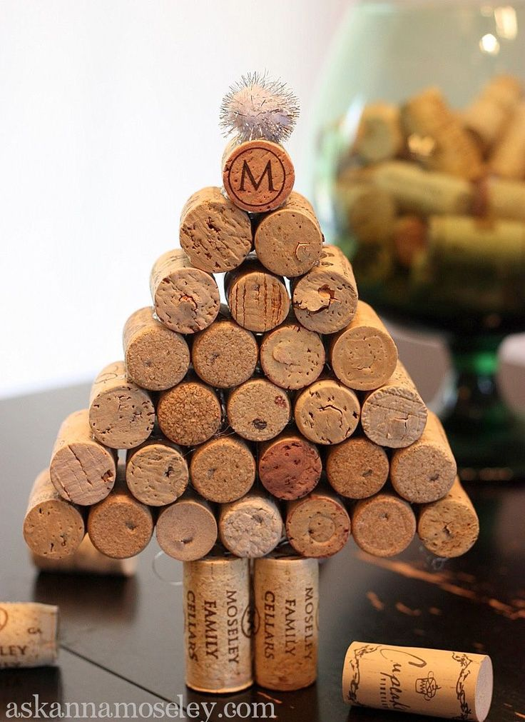 Wine cork Christmas tree tutorial - all you need are some old corks and a hot glue gun, it's easy to make and they make great gifts   Ask Anna