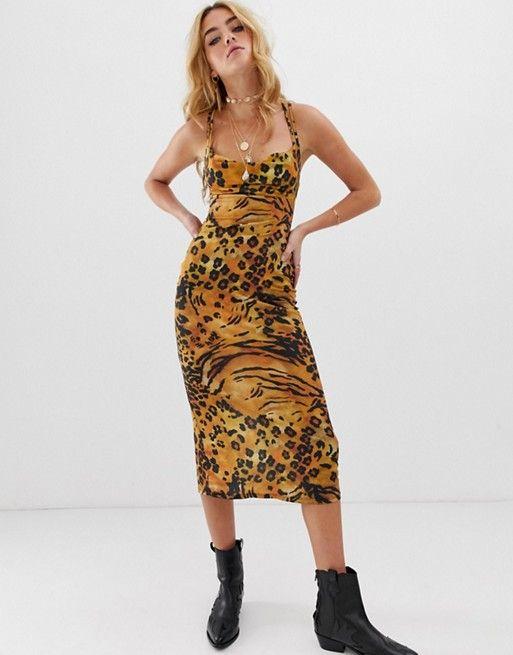 6f64d6e98192 ASOS DESIGN double strap cowl midi slip dress in animal print | ASOS