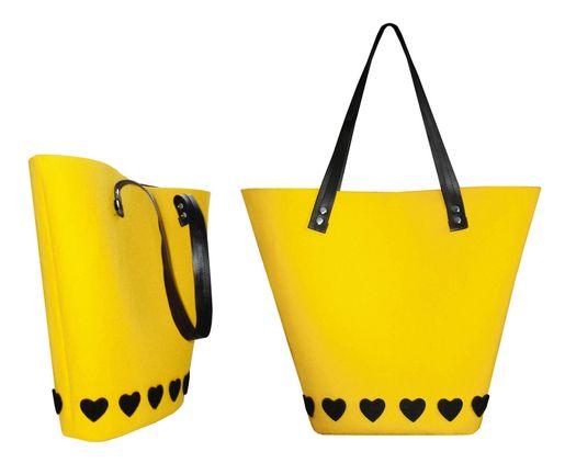 Żółta torba z filcu. Kliknij aby zobaczyć więcej!