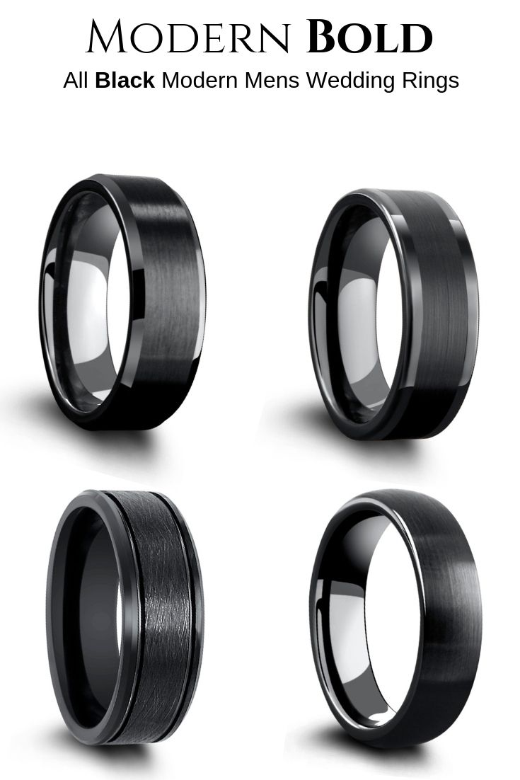 Engagement Rings Mens Wedding Bands Unique Mens Wedding Rings Black Tungsten Carbide Ring