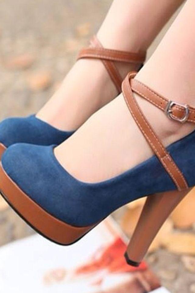 Blue and brown heels