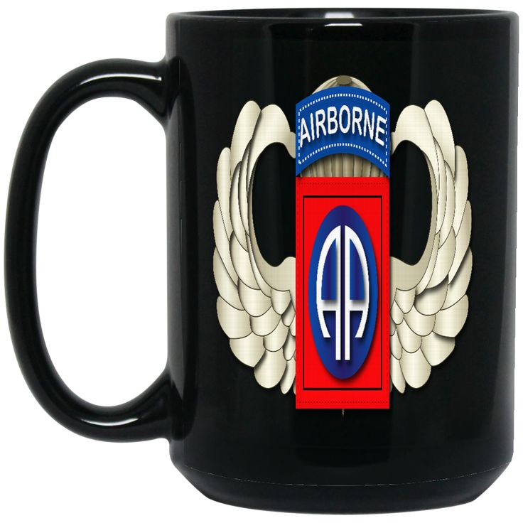 82ND AIRBORNE DIVISION WINGS BM15OZ 15 oz. Black Mug